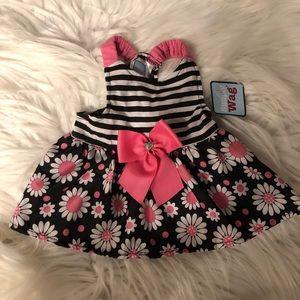 Stripe And Floral Dog Dress